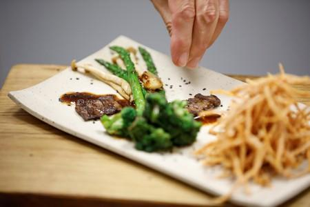 Dish including a piece of lab-grown steak produced from cow cells is seen in Rehovot, Israel