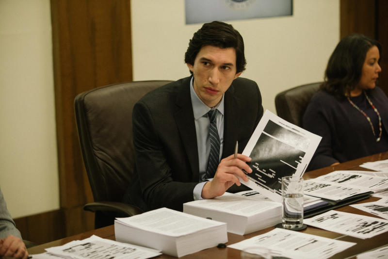 "This image released by Amazon Studios shows Adam Driver in a scene from ""The Report."" (Atsushi Nishijima/Amazon Studios via AP)"