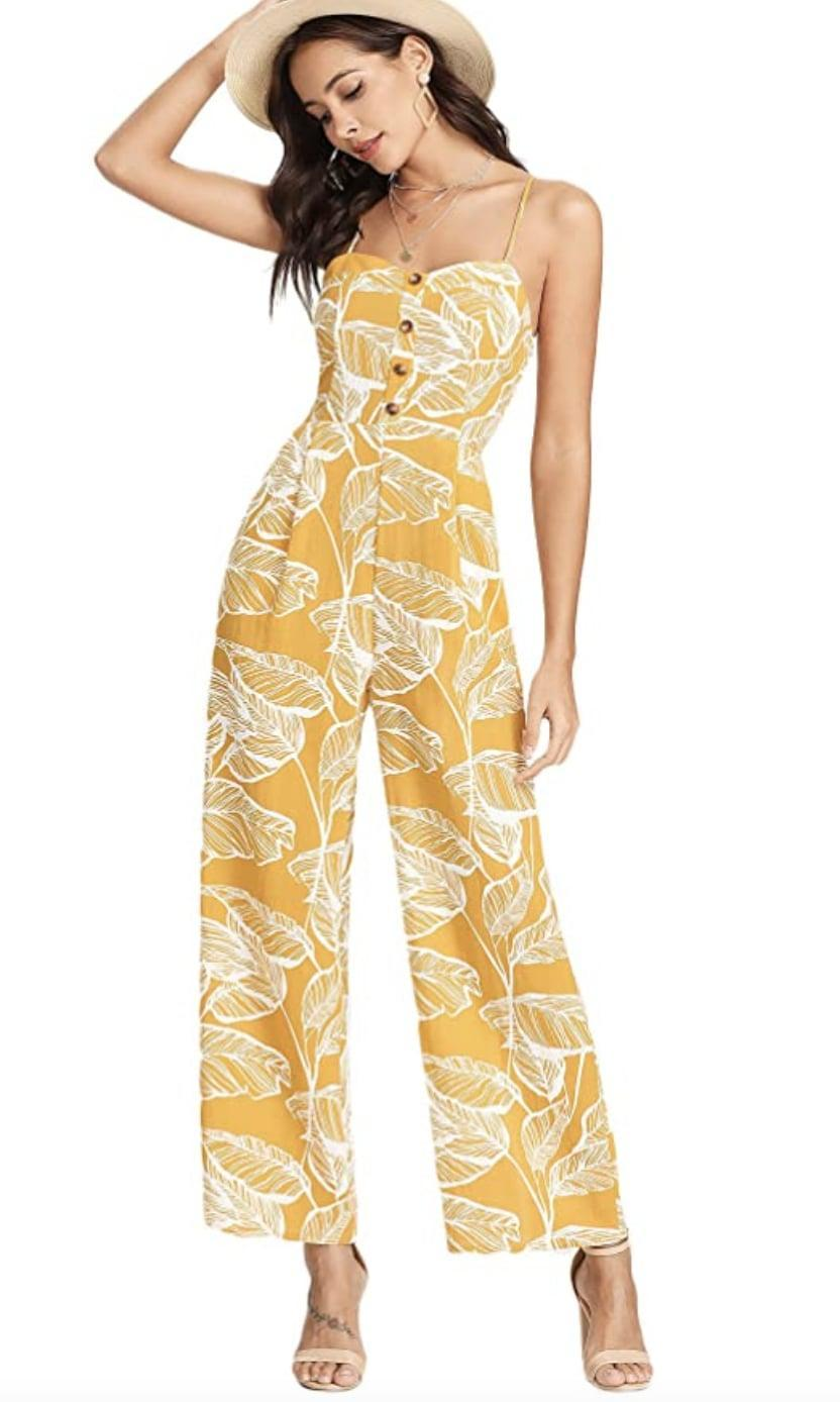 <p>The spaghetti strap, sweetheart neckline and wide hem pant make this <span>Floerns Palm Leaf Print Palazzo Jumpsuit</span> ($30) feminine and modern. The print also adds visual interest, making it perfect for a daytime brunch or elevated museum date.</p>