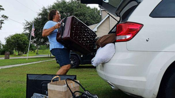 PHOTO: Patra Parker packs up her car to leave her home in Plaquemines Parish, La., in advance of Tropical Storm Barry, on July 11, 2019. (Dan Anderson/EPA via Shutterstock)