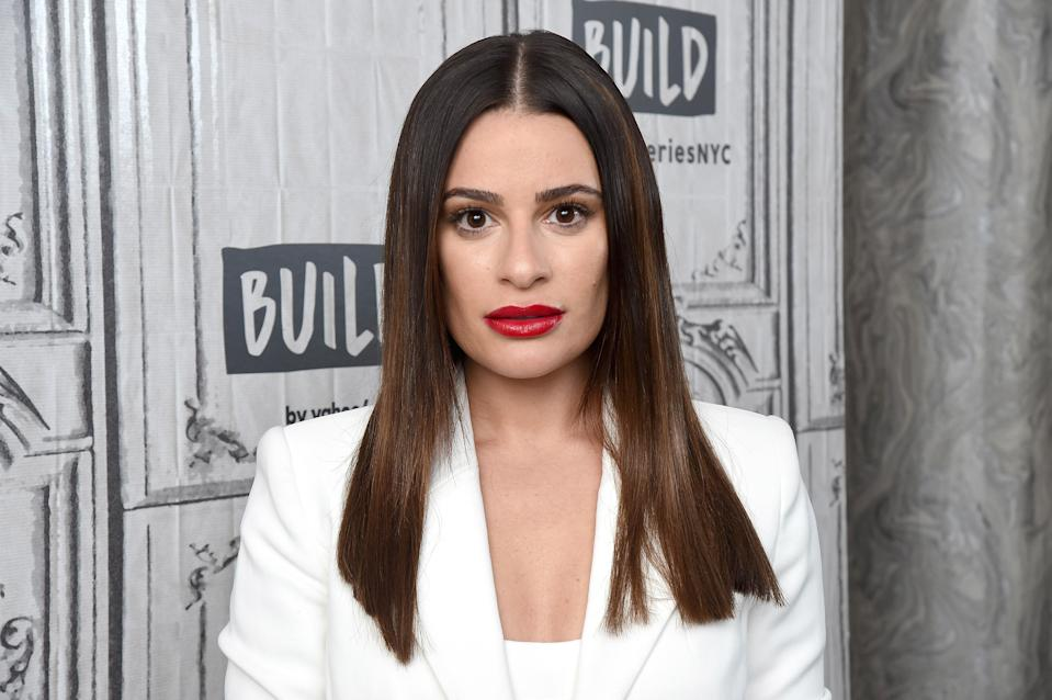 "NEW YORK, NEW YORK - DECEMBER 05: Actress and singer Lea Michele visits the Build Series to discuss the album ""Christmas in the City"" and the ABC/Freeform film ""Same Time, Next Christmas"" at Build Studio on December 05, 2019 in New York City. (Photo by Gary Gershoff/Getty Images)"