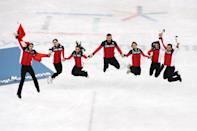 <p>Gold medalists Team Canada celebrate during the victory ceremony after the Figure Skating Team Event – Ice Dance Free Dance on day three of the PyeongChang 2018 Winter Olympic Games at Gangneung Ice Arena on February 12, 2018 in Gangneung, South Korea. (Photo by Dean Mouhtaropoulos/Getty Images) </p>