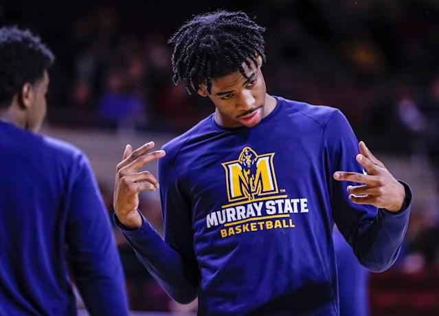 "RICHMOND, KY - FEBRUARY 16: <a class=""link rapid-noclick-resp"" href=""/ncaab/players/141675/"" data-ylk=""slk:Ja Morant"">Ja Morant</a> #12 of the Murray State Racers is seen before the game against the <a class=""link rapid-noclick-resp"" href=""/ncaaf/teams/e-kentucky/"" data-ylk=""slk:Eastern Kentucky Colonels"">Eastern Kentucky Colonels</a> at CFSB Center on February 16, 2019 in Murray, Kentucky. (Photo by Michael Hickey/Getty Images)"