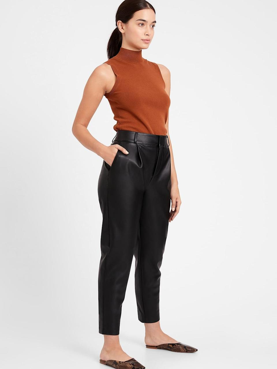 <p>These <span>Banana Republic High-Rise Tapered Vegan Leather Pant</span> ($59, originally $119) are so chic. Pair with a high collar lace blouse for a mix of sweet and edgy!</p>
