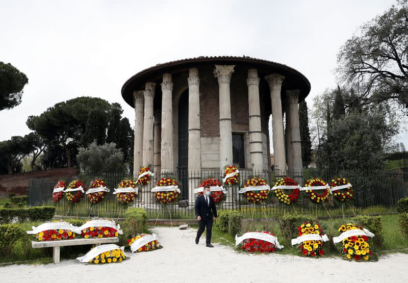 Rome's cemeteries are running out of space to store coffins ahead of funerals as a back-log in services due to COVID-19 restrictions has slowed down the pace for burials