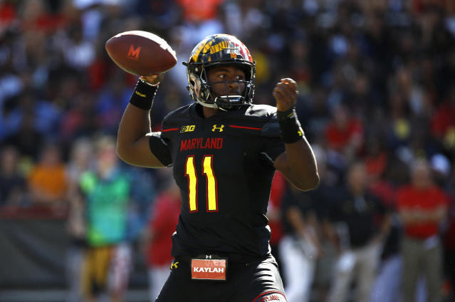 "Maryland quarterback <a class=""link rapid-noclick-resp"" href=""/college-football/players/275383/"" data-ylk=""slk:Kasim Hill"">Kasim Hill</a> was a top 100, four-star recruit in 2017. (AP Photo/Patrick Semansky)"
