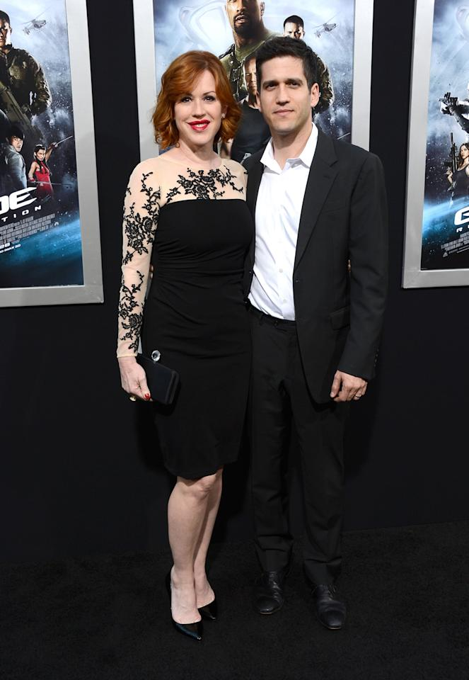 "HOLLYWOOD, CA - MARCH 28:  Actress Molly Ringwald and Panio Gianopoulos arrive at the premiere of Paramount Pictures' ""G.I. Joe: Retaliation"" at TCL Chinese Theatre on March 28, 2013 in Hollywood, California.  (Photo by Frazer Harrison/Getty Images)"