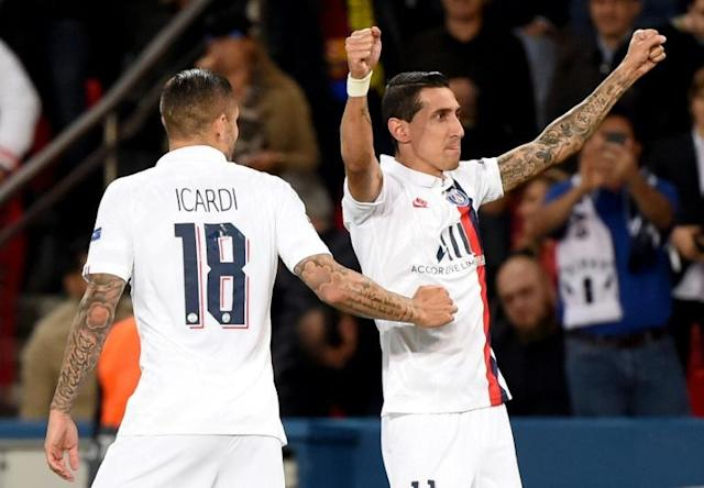 Di Maria scored twice as Icardi made his PSG Champions League debut against Real Madrid (AFP Photo/Lucas BARIOULET)