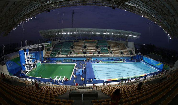a general view shows green water in the pool of the diving event before the womens