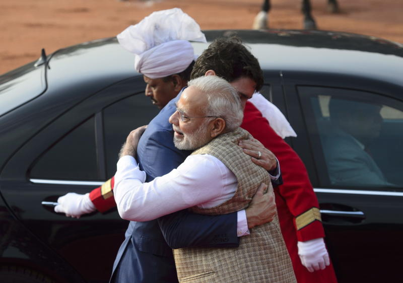 Canadian Prime Minister Justin Trudeau is greeted by Indian Prime Minister Narendra Modi as he arrives at the Presidential Palace in New Delhi, India, Friday, Feb. 23, 2018. (Sean Kilpatrick/The Canadian Press via AP)