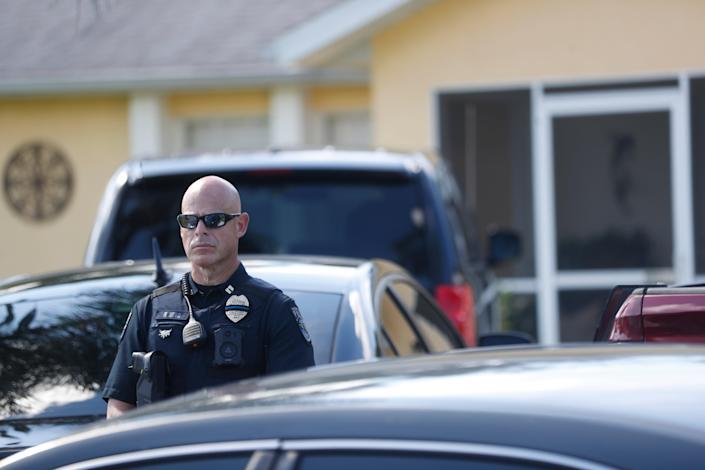 Police search Brian Laundrie's home in Florida a day after remains believed to be those of Gabby Petito discovered in Wyoming (Getty)