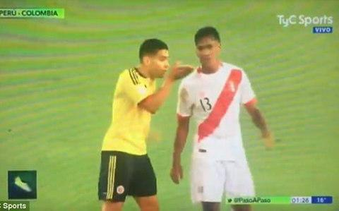 <span>Falcao gestures to Tapia</span> <span>Credit: TYC Sports </span>