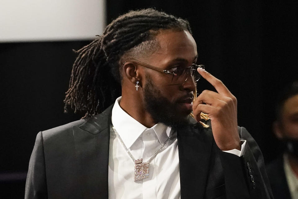 Isaiah Jackson reacts after being selected 22nd overall by the Los Angeles Lakers during the NBA basketball draft, Thursday, July 29, 2021, in New York. (AP Photo/Corey Sipkin)