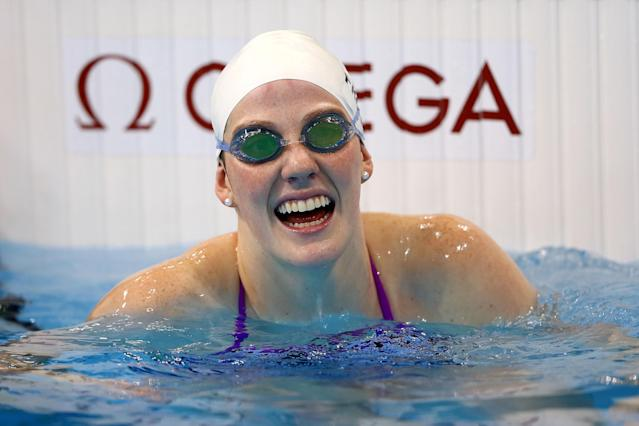 LONDON, ENGLAND - JULY 26: Swims Missy Franklin of the United States of America smiles in the pool during a training session ahead of the London Olympic Games at the Aquatics Centre in Olympic Park on July 26, 2012 in London, England. (Photo by Al Bello/Getty Images)