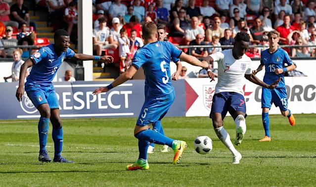 Soccer Football - UEFA European Under-17 Championship - Group A - England v Italy - The Banks's Stadium, Walsall, Britain - May 7, 2018 England's Arvin Appiah scores their first goal Action Images via Reuters/Andrew Boyers