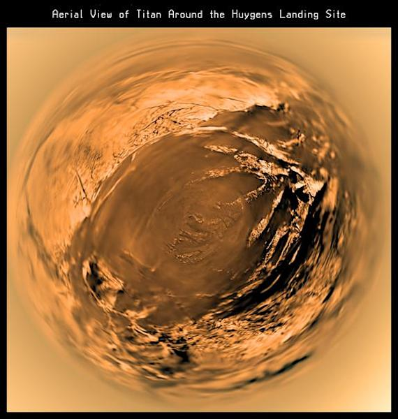 This distorted fish-eye projection shows a view of Titan's surface from 5 kilometres above the surface. It is built with images taken during descent by the Descent Imager/Spectral Radiometer (DISR) on board ESA's Huygens mission, on Jan. 14, 20