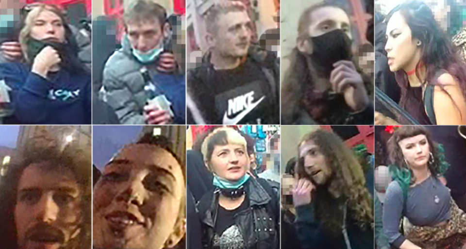 Police have released images of suspects they want to trace following Sunday's protests in Bristol. (Avon and Somerset Police)