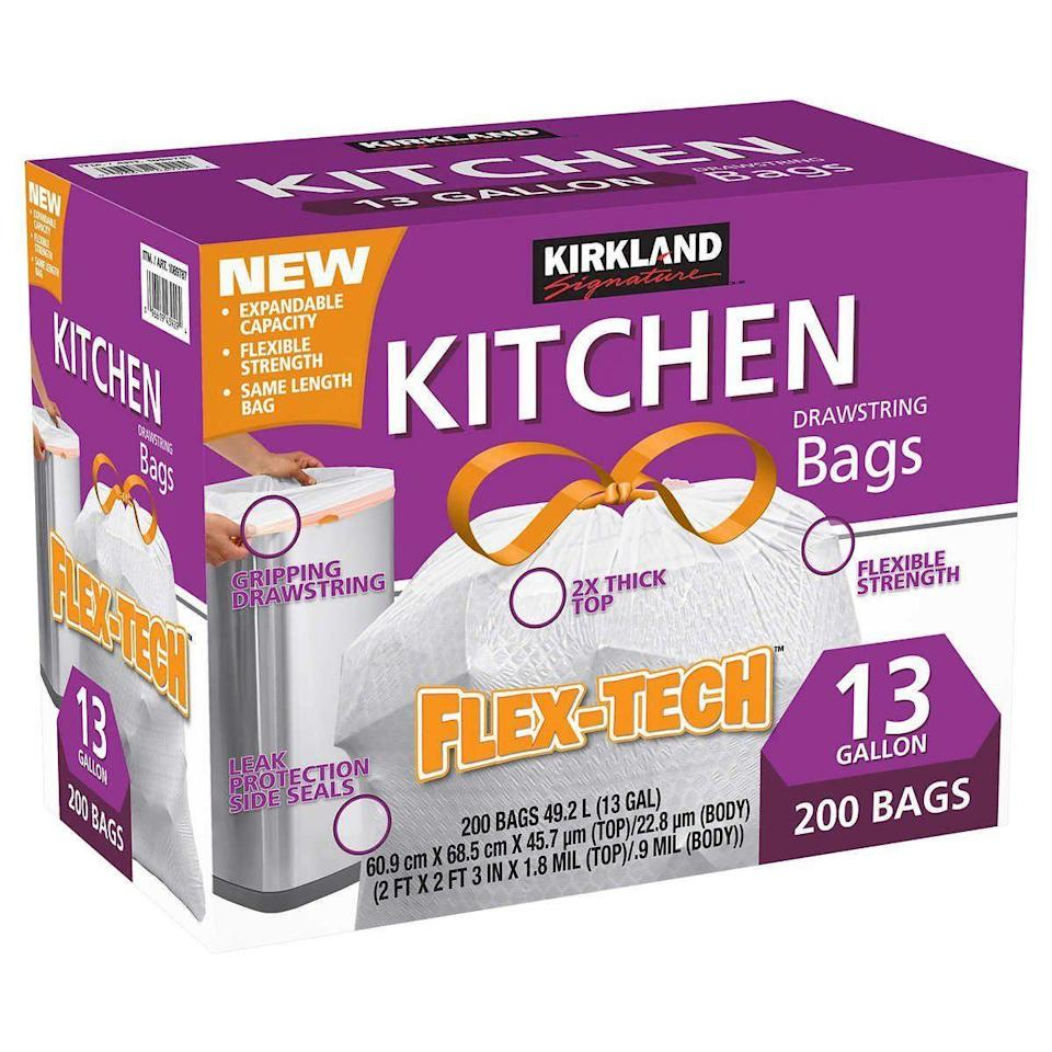"""<p>Kirkland is Costco's house brand, and that's exactly where you should buy those products. Yes, Amazon sells them, too, but you'll pay so much more on the retail giant's site. For example, a <a href=""""https://www.costco.com/Kirkland-Signature-Flex-Tech-13-Gallon-Kitchen-Trash-Bags%2C-200-count.product.100342484.html"""" rel=""""nofollow noopener"""" target=""""_blank"""" data-ylk=""""slk:200-count box of Kirkland trash bags at Costco"""" class=""""link rapid-noclick-resp"""">200-count box of Kirkland trash bags at Costco</a> is $17. On <a href=""""https://www.amazon.com/Kirkland-Signature-Flex-Tech-Kitchen-200-count/dp/B07KRC6DBP/ref=asc_df_B07KRC6DBP/?tag=hyprod-20&linkCode=df0&hvadid=343252307432&hvpos=&hvnetw=g&hvrand=17007243451587444507&hvpone=&hvptwo=&hvqmt=&hvdev=c&hvdvcmdl=&hvlocint=&hvlocphy=9003432&hvtargid=pla-761611835991&psc=1&tag=&ref=&adgrpid=71761390751&hvpone=&hvptwo=&hvadid=343252307432&hvpos=&hvnetw=g&hvrand=17007243451587444507&hvqmt=&hvdev=c&hvdvcmdl=&hvlocint=&hvlocphy=9003432&hvtargid=pla-761611835991"""" rel=""""nofollow noopener"""" target=""""_blank"""" data-ylk=""""slk:Amazon"""" class=""""link rapid-noclick-resp"""">Amazon</a>, it's $25.</p>"""