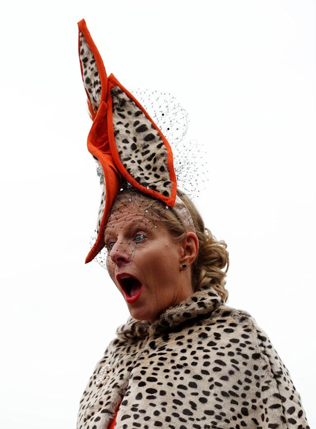 Horse Racing - Cheltenham Festival - Cheltenham Racecourse, Cheltenham, Britain - March 14, 2018 A racegoer reacts before racing Action Images via Reuters/Andrew Boyers