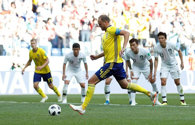 Soccer Football - World Cup - Group F - Sweden vs South Korea - Nizhny Novgorod Stadium, Nizhny Novgorod, Russia - June 18, 2018 Sweden's Andreas Granqvist scores their first goal from the penalty spot REUTERS/Matthew Childs