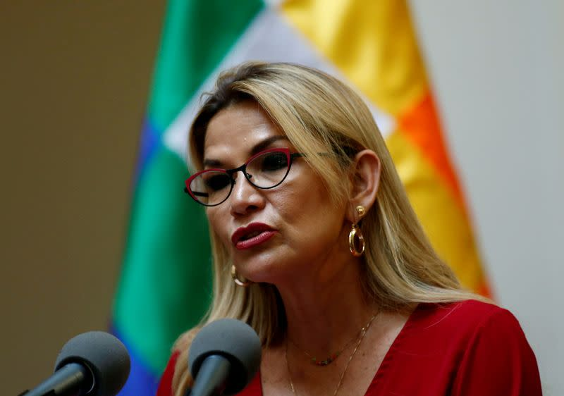 FILE PHOTO: Bolivia's interim president Jeanine Anez speaks during a ceremony at the presidential palace in La Paz