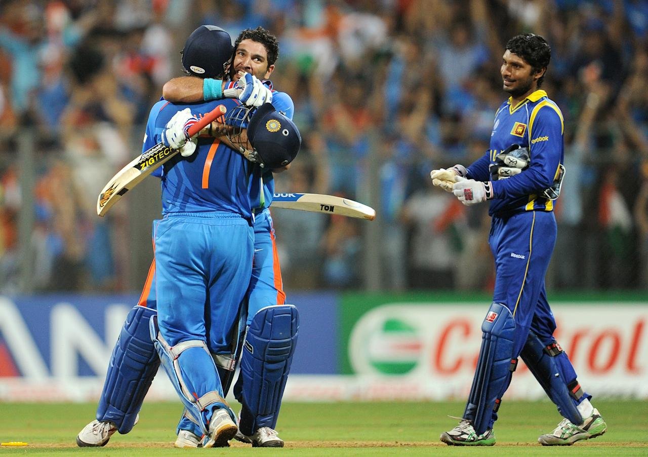 India vs Sri Lanka (FINAL) at Mumbai on 2 April 2011: Sri Lanka lost the wicket of Upul Tharanga in the seventh over of the match, but Tillakaratne Dilshan and Kumar Sangakkara consolidated Sri Lanka's innings. The star of the show for Sri Lanka though was Mahela Jayawardene who remained unbeaten on 103 from 88 deliveries, and this knock will go down as one of the best ever played in ODIs. A late burst from Thisara Perera (22* from 9 deliveries) helped Sri Lanka set India a competitive target of 275 to be crowned world champions.  India's chase got off to a horror start as Lasith Malinga dismissed India's opening batsmen - Virender Sehwag and Sachin Tendulkar - with only 31 runs on the board. Gautam Gambhir took his time to play himself in as he held one end up even as Virat Kohli kept him good company as the pair added 83 runs for the third wicket to get India's chase back on track. In a surprising move, captain MS Dhoni promoted himself to No.5 ahead of the in-form Yuvraj Singh, and it proved to be an inspired move as he added 109 runs for the fourth wicket with Gambhir (97) to set India on the path to victory. And, fittingly, Dhoni hit the winning runs to remain unbeaten on 91 from 79 deliveries while Yuvraj (21*) played his part in the unbroken 54-run partnership for the fifth wicket.  Muttiah Muralitharan had figures of 8-0-39-0 in the last match of his outstanding international career.