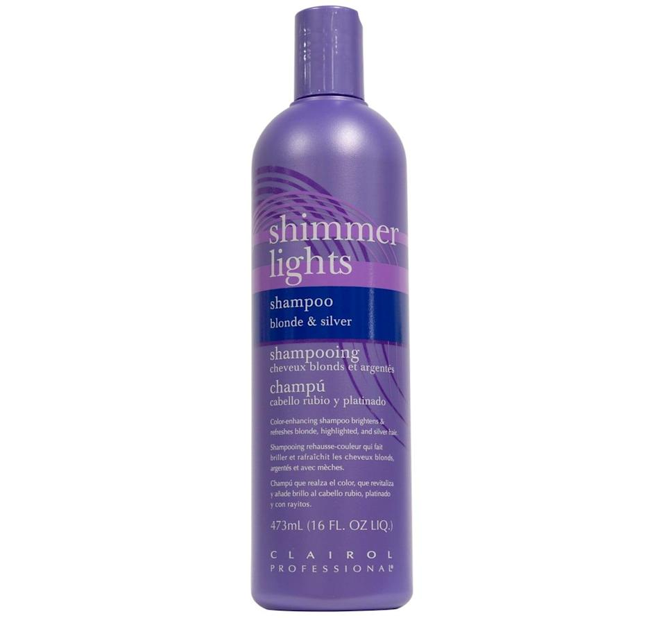 """<p>I stole a bottle of this <span>Clairol Professional Shimmer Lights Blonde &amp; Silver Shampoo</span> ($13) from a dude I was dating who was going gray - he swore it helped bring out brighter tones. I've found it also works to dim the appearance of super-dark roots. (Though that's a look, too.)</p> <p>Even better, it's also a hit among professionals. """"This is an industry standard,"""" Scott said. """"It's been around longer than me and probably will be long after I'm gone."""" Since according to Scott, this one can be a little intense, he recommends diluting it with your regular shampoo and limiting your use of it to once or twice a week.</p>"""