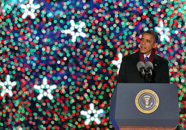 WASHINGTON, DC - DECEMBER 06: U.S. President Barack Obama speaks after lighting of the National Christmas tree on December 6, 2012 in Washington, D.C. This year is the 90th annual National Christmas Tree Lighting Ceremony. (Photo by Mark Wilson/Getty Images)