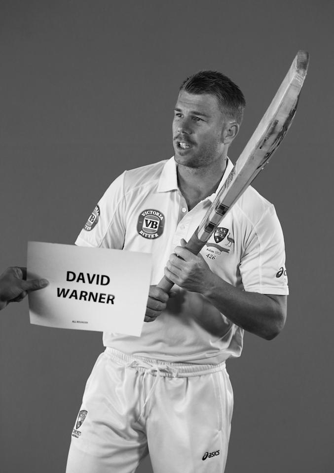 WORCESTER, ENGLAND - JULY 01:  (EDITORS NOTE: Image has been converted to black and white) David Warner of Australia looks on during a filming session on July 1, 2013 in Worcester, England.  (Photo by Ryan Pierse/Getty Images)