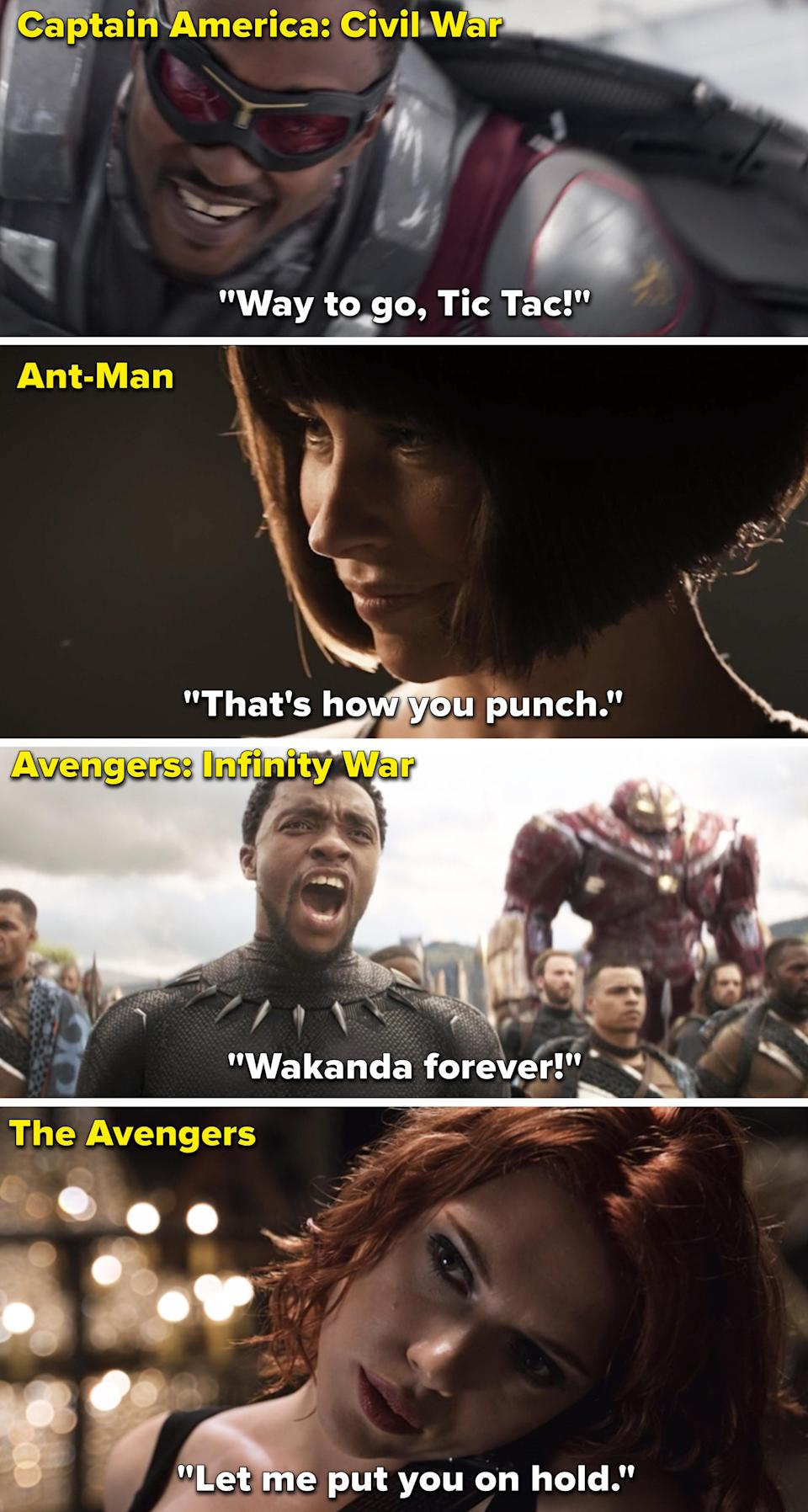 Since this is more interesting than just seeing the quotes over the Marvel opening again, I pulled the actual movie scenes they're from.