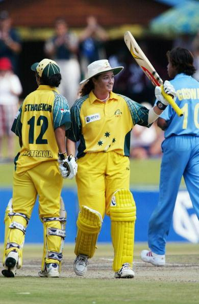 PRETORIA, SOUTH AFRICA - APRIL 10: (TOUCHLINE IMAGES ARE AVAILABLE TO CLIENTS IN THE UK, USA AND AUSTRALIA ONLY)   Karen Rolton of Australia celebrates her century during the IWCC Women's World Cup Final between India and Australia at Supersport Park Stadium on April 10, 2005 in Pretoria, South Africa. (Photo by Touchline/Getty Images)
