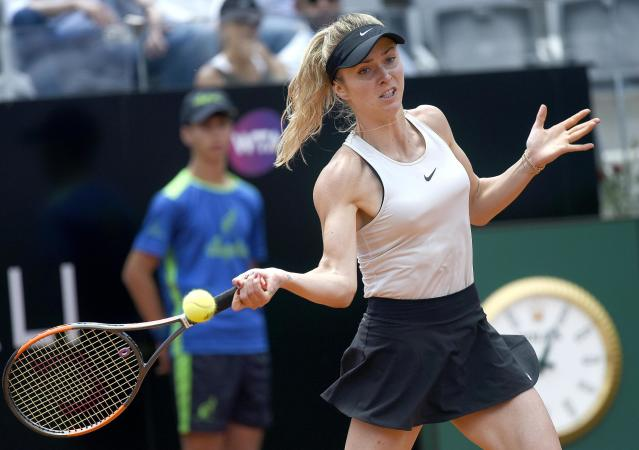Ukraine's Elina Svitolina returns the ball to Estonia's Anett Kontaveit during their women's singles semifinal, at the Italian Open tennis tournament in Rome on Saturday, May 19, 2018. (Claudio Onorati/ANSA via AP)