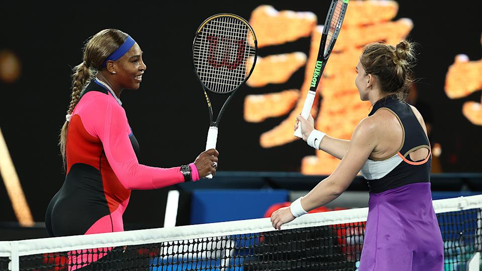Serena Williams and Simona Halep, pictured here after their match at the Australian Open.