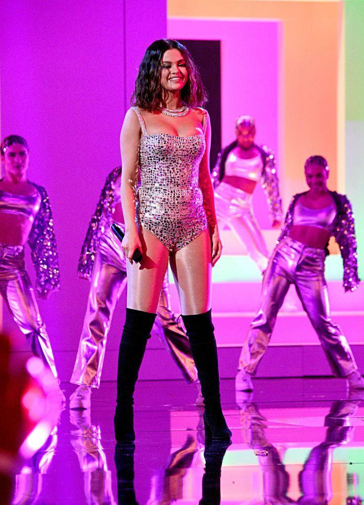 <p>Performing onstage during the American Music Awards.</p>