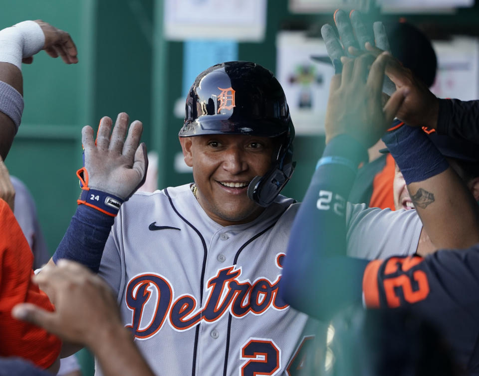 KANSAS CITY, MISSOURI - JULY 24:  Miguel Cabrera #24 of the Detroit Tigers celebrates after scoring in the second inning against the Kansas City Royals at Kauffman Stadium on July 24, 2021 in Kansas City, Missouri. (Photo by Ed Zurga/Getty Images)