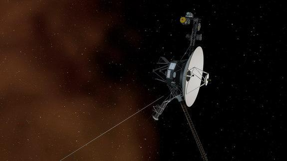 This artist's concept depicts NASA's Voyager 1 spacecraft entering interstellar space, or the space between stars. Interstellar space is dominated by the plasma, or ionized gas, that was ejected by the death of nearby giant stars millions of ye