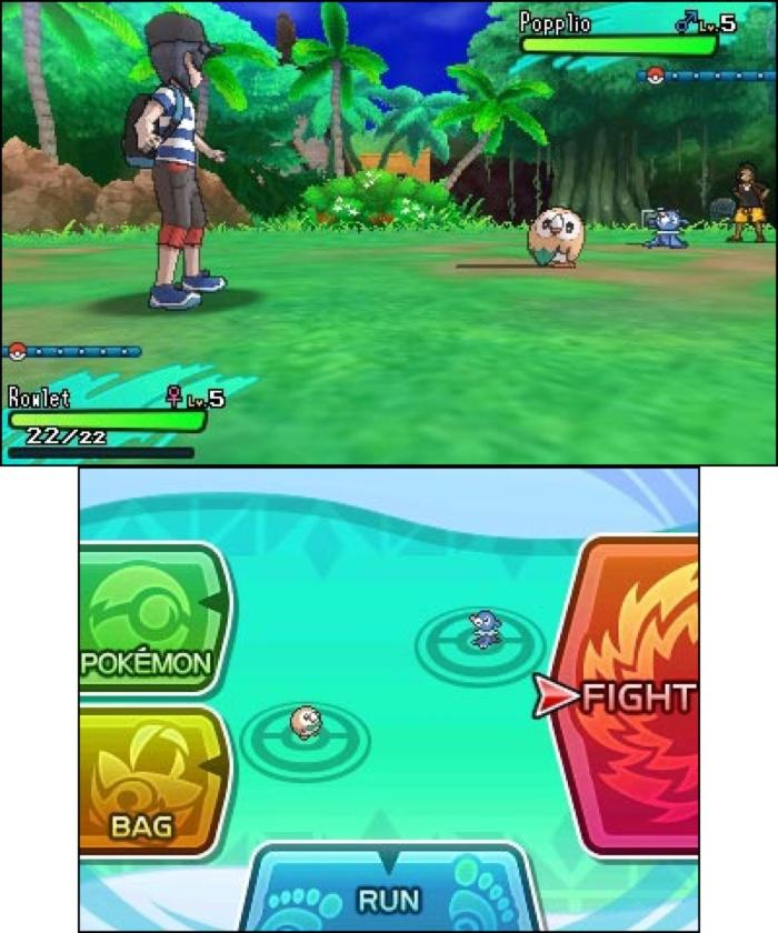 Pokemon Sun and Moon battle screen.