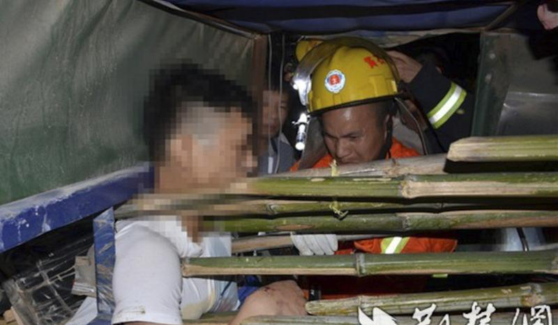 Chinese driver survives after being impaled by four bamboo poles in crash