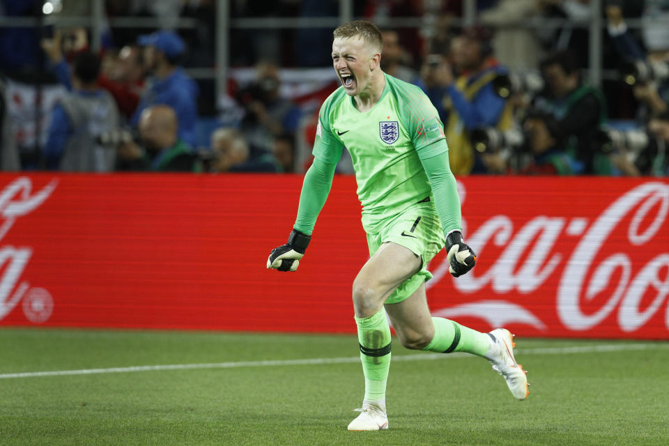 <p>Victory: Goalkeeper Jordan Pickford is elated after England won a penalty shoot-out! </p>
