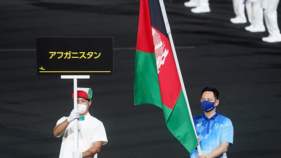 The Afghanistan flag, pictured here at the Paralympics opening ceremony.