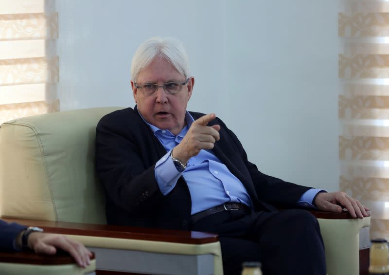United Nations Special Envoy to Yemen Griffiths, gestures during his visit, in Marib