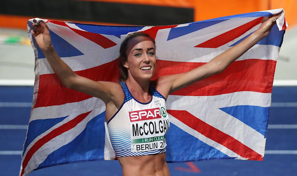 Great Britain's Eilish McColgan celebrates winning silver in the women's 5000m final during day six of the 2018 European Athletics Championships at the Olympic Stadium, Berlin. (Photo by Martin Rickett/PA Images via Getty Images)