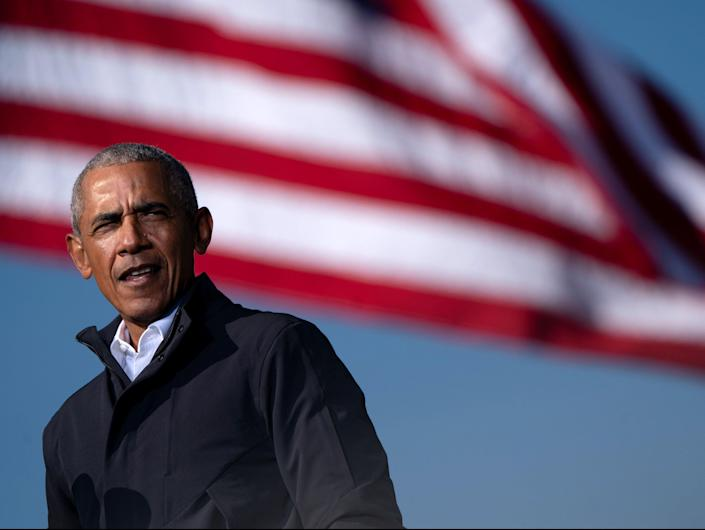 Former US President Barack Obama speaks at a Get Out the Vote rally as he campaigns for Democratic presidential candidate former Vice President Joe Biden in Atlanta, Georgia (AFP via Getty Images)