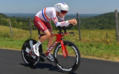 <span>British national time trial champion Alex Dowsett</span> <span>Credit: GETTY IMAGES </span>