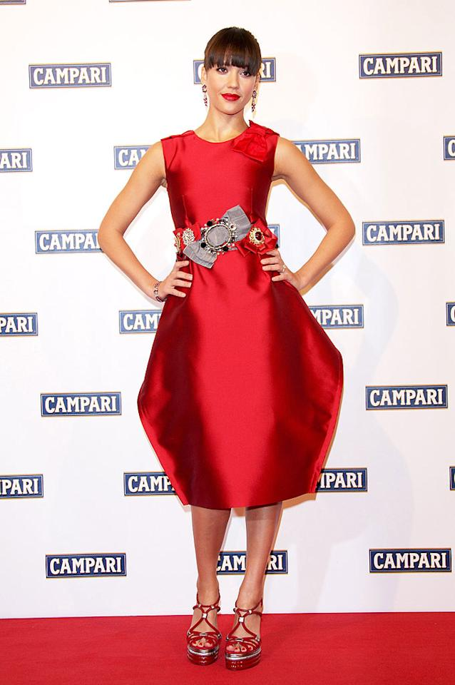 "Jessica Alba donned this daring Dolce dress at the launch for the 2009 Campari Calendar. Venturelli/<a href=""http://www.wireimage.com"" target=""new"">WireImage.com</a> - December 2, 2008"