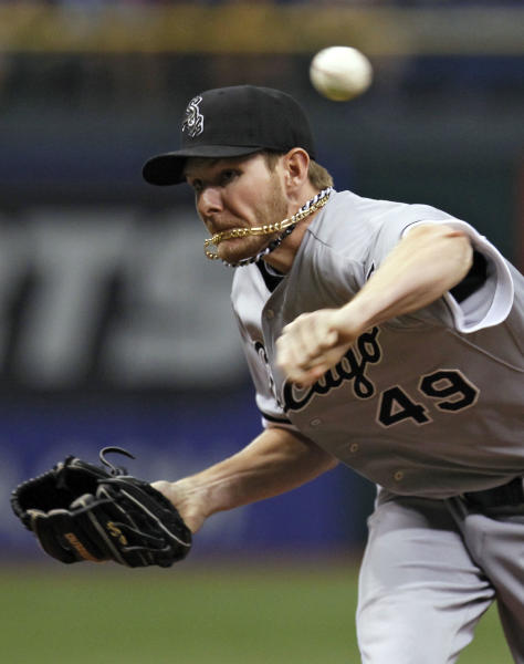 Chicago White Sox starting pitcher Chris Sale deliver to the Tampa Bay Rays during the first inning of a baseball game Monday, May 28, 2012, in St. Petersburg, Fla. (AP Photo/Chris O'Meara)