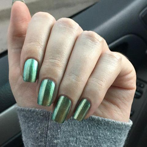 "<p>The unique chrome finish on these nails adds a fun twist to your classic green manicure.</p><p><a class=""link rapid-noclick-resp"" href=""https://www.amazon.com/ILNP-Reminisce-Shifting-Chrome-Polish/dp/B016NCLYAI/ref=sr_1_5?dchild=1&keywords=metallic+green+nail+polish&qid=1611955561&sr=8-5&tag=syn-yahoo-20&ascsubtag=%5Bartid%7C10055.g.26310821%5Bsrc%7Cyahoo-us"" rel=""nofollow noopener"" target=""_blank"" data-ylk=""slk:SHOP METALLIC GREEN NAIL POLISH"">SHOP METALLIC GREEN NAIL POLISH </a></p><p><a href=""https://www.instagram.com/p/B7ENn3Lg8EZ/&hidecaption=true"" rel=""nofollow noopener"" target=""_blank"" data-ylk=""slk:See the original post on Instagram"" class=""link rapid-noclick-resp"">See the original post on Instagram</a></p>"