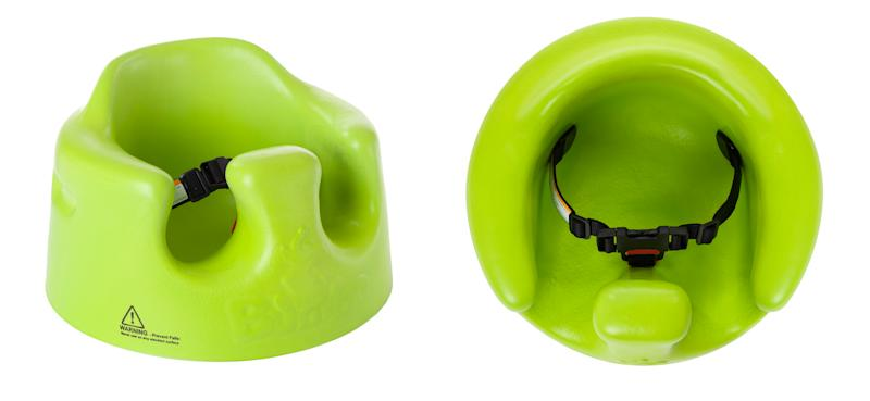 This undated handout combo photo provided by the U.S. Consumer Product Safety Commission (CPSC) shows a side view, left, and overhead view of a Bumbo Baby Seat which are being recalled after nearly two dozen reports of infant skull fractures. The CPSC says babies can wiggle out of the floor seats.  (AP Photo/CPSC)