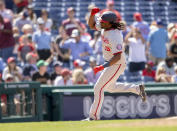Washington Nationals' Josh Bell runs the bases after hitting a grand slam home run during the sixth inning of a baseball game against the Philadelphia Phillies, Wednesday, June 23, 2021, in Philadelphia. (AP Photo/Laurence Kesterson)