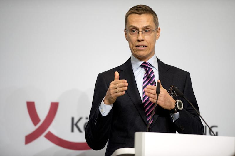 Finnish Prime Minister Alexander Stubb speaks at the Berlin Foreign Policy forum in Berlin on October 23, 2012
